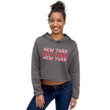 Load image into Gallery viewer, New York X3 | Model Sample | Bodeguita NYC Cropped Hoodie | Designs Made with Happiness in NYC