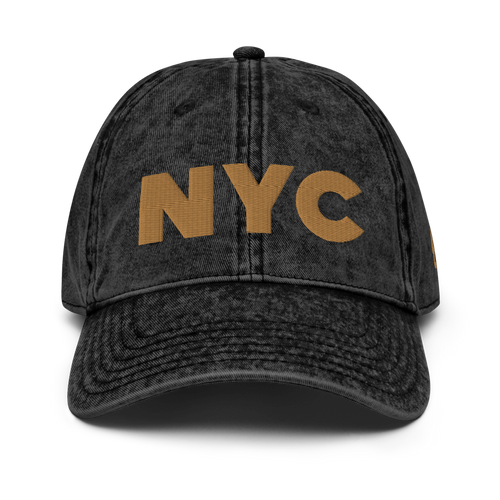 NYC is Golden Vintage Black Cap | Gold Letters | Front View | Bodeguita NYC Baseball Cap | Designs Made with Happiness in NYC