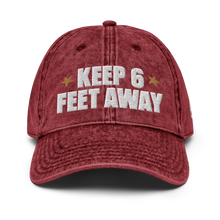 Load image into Gallery viewer, Keep 6 FT Away Vintage Red Cap | Black Letters | Front View | Bodeguita NYC Baseball Cap | Designs Made with Happiness in NYC