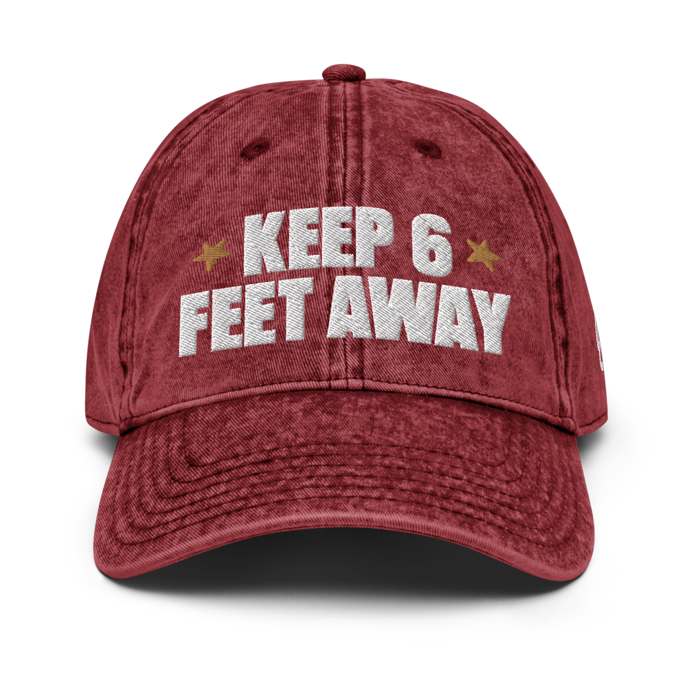 Keep 6 FT Away Vintage Red Cap | Black Letters | Front View | Bodeguita NYC Baseball Cap | Designs Made with Happiness in NYC