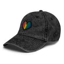 Load image into Gallery viewer, Rainbow Heart Vintage Black Cap | Side View | Bodeguita NYC Baseball Cap | Designs Made with Happiness in NYC