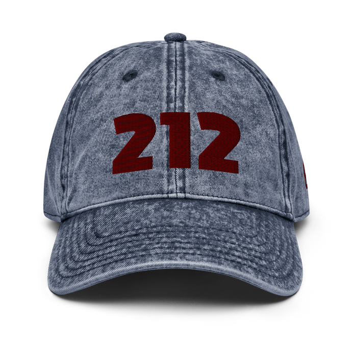212 Navy Vintage Cap | Red Letters | Front View | Bodeguita NYC Baseball Cap | Designs Made with Happiness in NYC