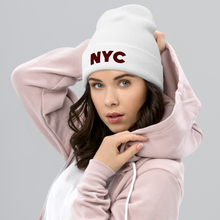 Load image into Gallery viewer, NYC | Maroon Letters | Model View | Bodeguita NYC White Beanie | Designs Made with Happiness in NYC