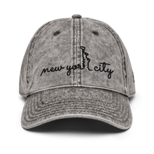 Load image into Gallery viewer, New York City Vintage White Cap | Black Letters | Front View | Bodeguita NYC Baseball Cap | Designs Made with Happiness in NYC