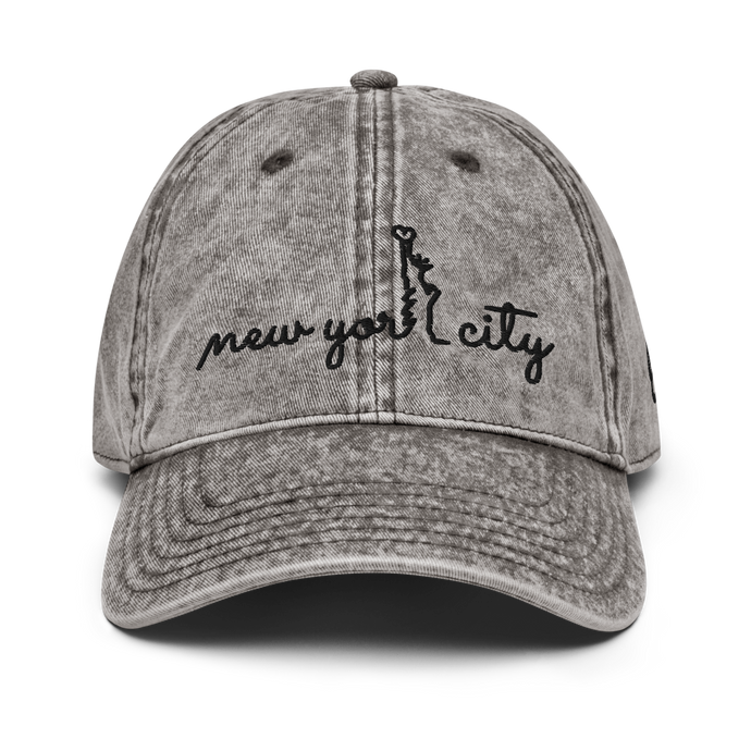 New York City Vintage White Cap | Black Letters | Front View | Bodeguita NYC Baseball Cap | Designs Made with Happiness in NYC