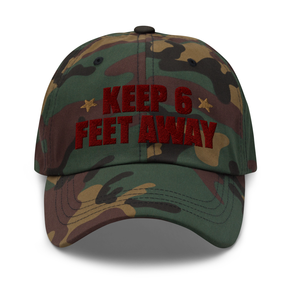 Keep 6 FT Away Cameo Cap | Red Letters | Front View | Bodeguita NYC Baseball Cap | Designs Made with Happiness in NYC