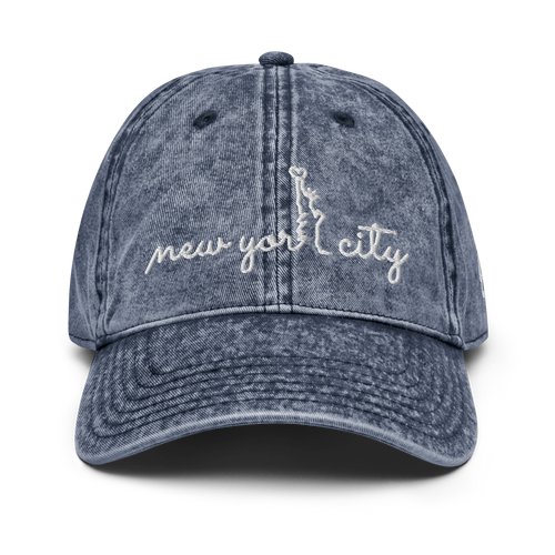 New York City Vintage Navy Cap | White Letters | Front View | Bodeguita NYC Baseball Cap | Designs Made with Happiness in NYC