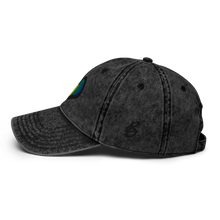 Load image into Gallery viewer, Rainbow Heart Vintage Black Cap | Logo View | Bodeguita NYC Baseball Cap | Designs Made with Happiness in NYC