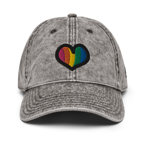 Rainbow Heart Vintage White Cap | Front View | Bodeguita NYC Baseball Cap | Designs Made with Happiness in NYC