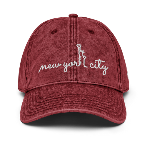 New York City Vintage Red Cap | White Letters | Front View | Bodeguita NYC Baseball Cap | Designs Made with Happiness in NYC