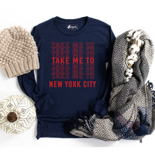 Load image into Gallery viewer, Take Me to NYC | Red Letters | Bodeguita NYC Navy Long Sleeve | Designs Made with Happiness in NYC