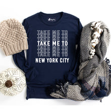 Load image into Gallery viewer, Take Me to NYC | White Letters | Bodeguita NYC Navy Long Sleeve | Designs Made with Happiness in NYC