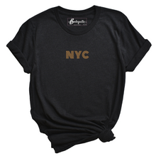 Load image into Gallery viewer, NYC is Golden | Embroidery | Bodeguita NYC Black T-shirt | Designs Made with Happiness in NYC