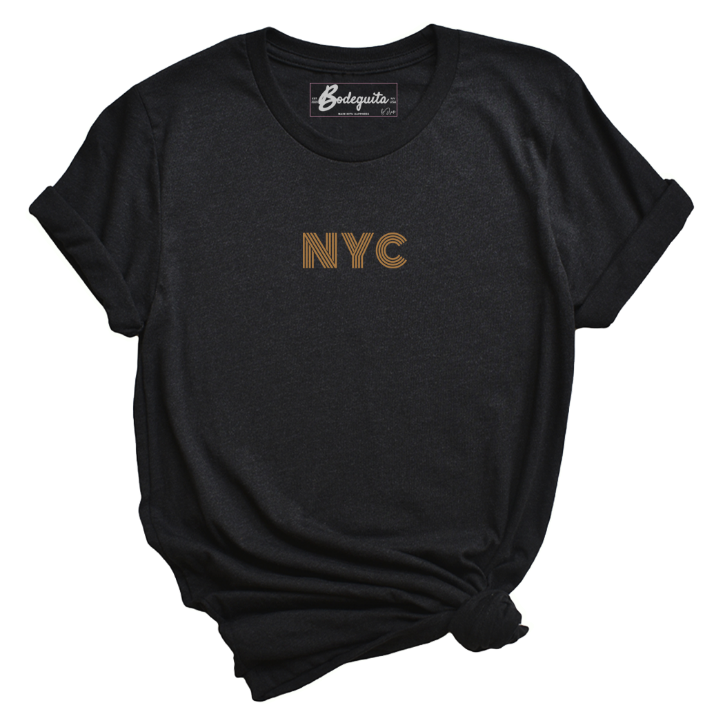 NYC is Golden | Embroidery | Bodeguita NYC Black T-shirt | Designs Made with Happiness in NYC