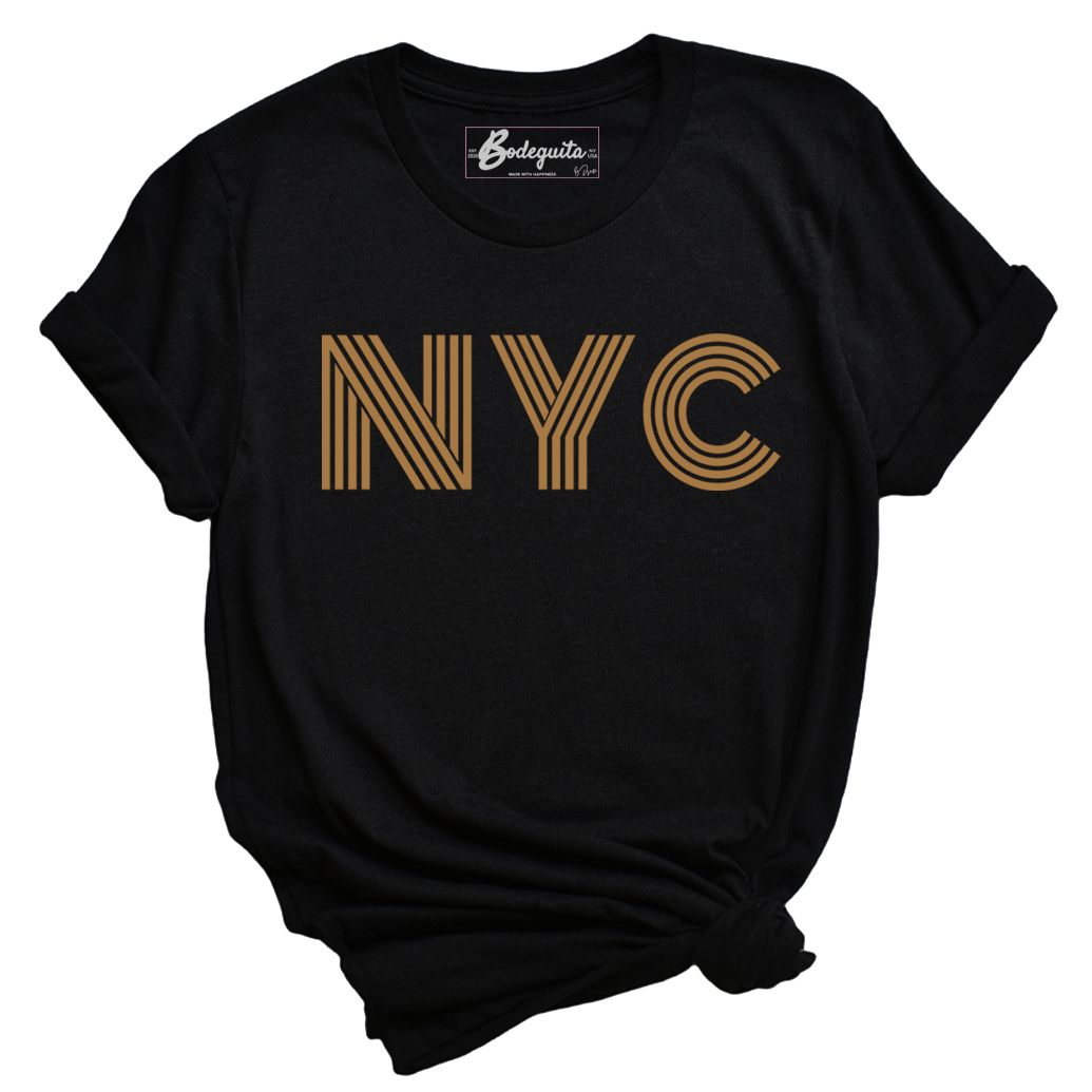 NYC is Golden | Bodeguita NYC Black T-shirt | Designs Made with Happiness in NYC