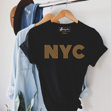 NYC is Golden | Display View | Bodeguita NYC Black T-shirt | Designs Made with Happiness in NYC