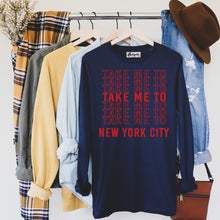 Load image into Gallery viewer, Take Me to NYC | Red Letters | Display View | Bodeguita NYC Navy Long Sleeve | Designs Made with Happiness in NYC