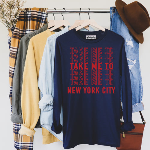 Take Me to NYC | Red Letters | Display View | Bodeguita NYC Navy Long Sleeve | Designs Made with Happiness in NYC
