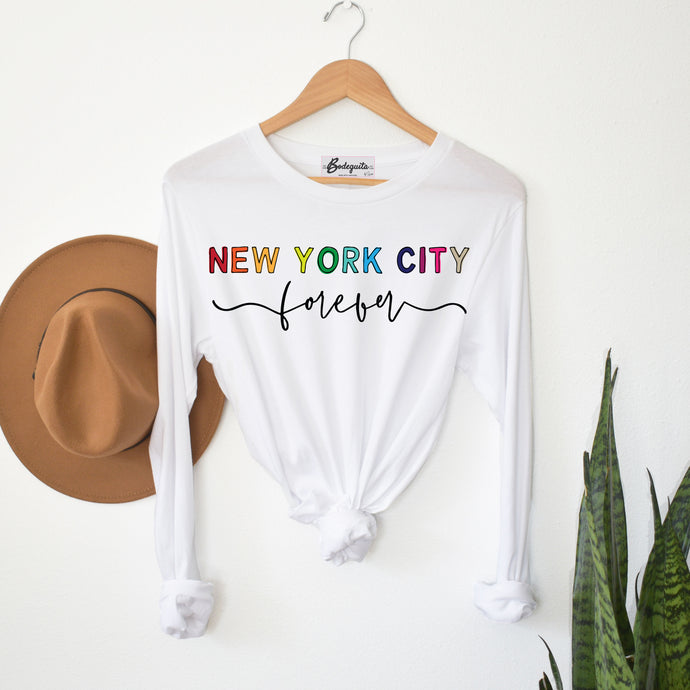 New York City Forever | Display View | Bodeguita NYC White Long Sleeve | Designs Made with Happiness in NYC