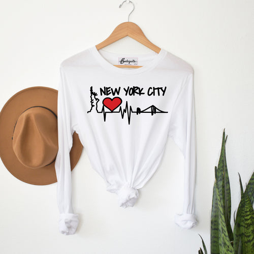 NYC Heart Skyline | Display View | Bodeguita NYC White Long Sleeve | Designs Made with Happiness in NYC