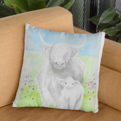 Highlander Mama Cow 2 - pillow based on my original watercolour painting
