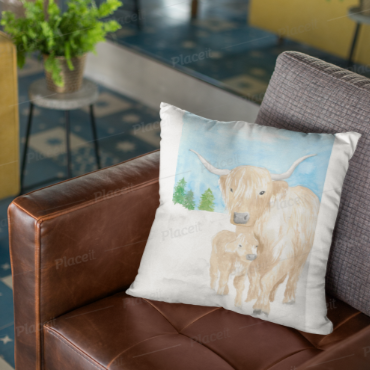 Highlander Mama Cow 3 - pillow based on my original watercolour painting