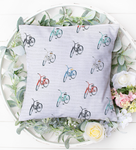Pretty Bikes- pillow based on watercolour paintings of pretty bicycles