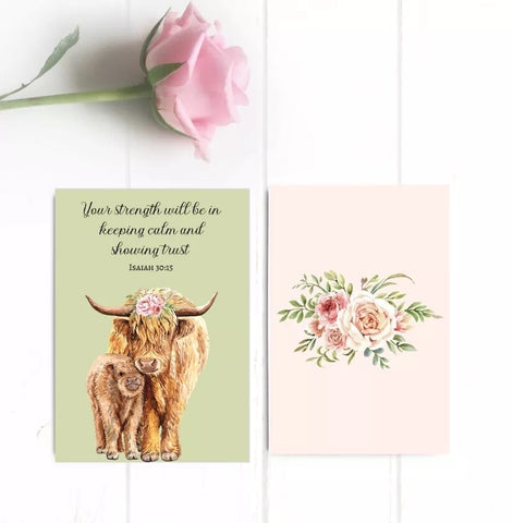 """Your strength will be..."" mini cow card"