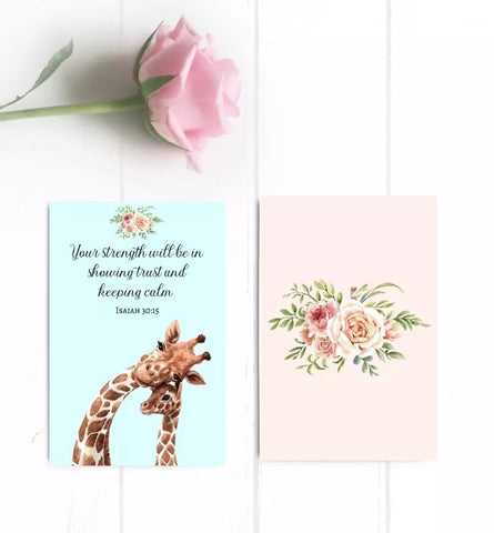 """Your strength will be..."" mini giraffe card"