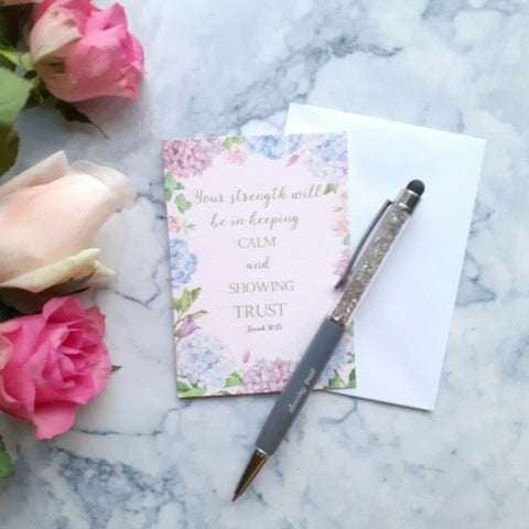"""Your strength will be in...""mini card with watercolour hydrangeas"