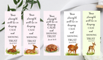 5 Bookmarks featuring 2021 year text and watercolour fawns