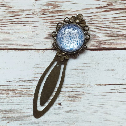 "Vintage bronze bookmark ""blue"""