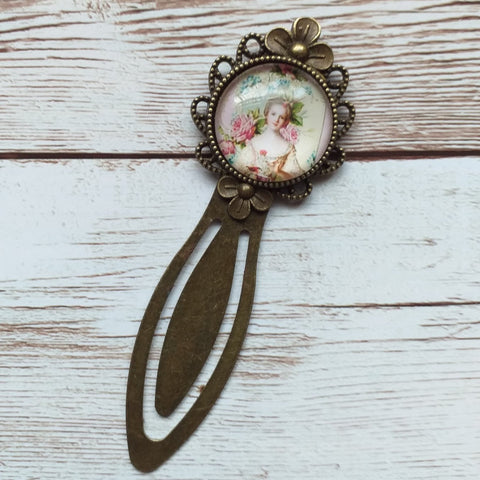 "Vintage bronze bookmark ""lady"""