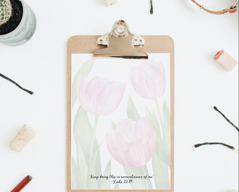 Memorial Campaign Letter Writing Paper- Pink Tulips