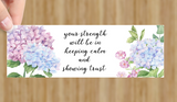 Bookmark featuring 2021 year text and watercolour hydrangeas