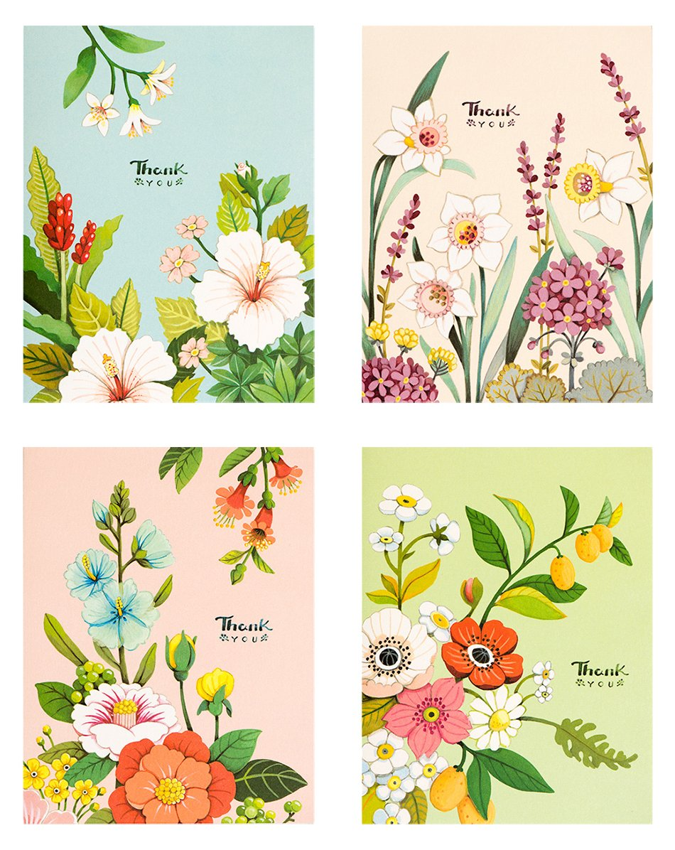 Pastel Botanicals Thank You Card Set