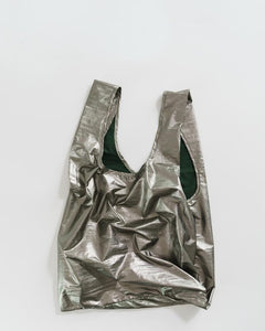Baggu Reusable Bag: Metallic Pewter