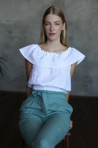 LINEN RUFFLE TOP IN WHITE