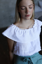 Load image into Gallery viewer, LINEN RUFFLE TOP IN WHITE