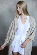 Load image into Gallery viewer, LONG LINEN JACKET IN CREME BRULEE