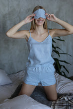 Load image into Gallery viewer, LINEN SLEEP MASK IN ICE BLUE