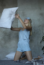 Load image into Gallery viewer, LINEN PAJAMA SET IN ICE BLUE