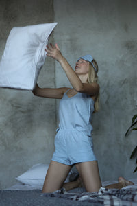 LINEN PAJAMA SET IN ICE BLUE