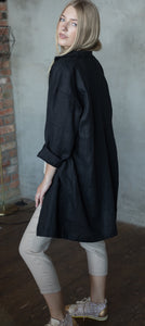 LONG LINEN JACKET IN BLACK