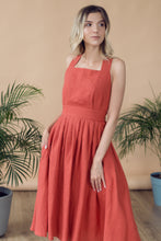 Load image into Gallery viewer, CROSS-BACK LINEN DRESS IN TERRACOTTA