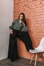 Load image into Gallery viewer, LINEN PALAZZO PANTS IN BLACK