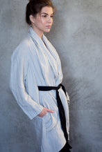 Load image into Gallery viewer, LINEN KIMONO JACKET WITH BELT IN PEARL GREY