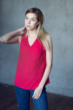 Load image into Gallery viewer, V-NECK LINEN TANK TOP IN GRENADINE
