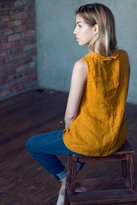 LINEN TOP WITH COLLAR IN MUSTARD