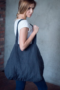 LARGE LINEN TOTE BAG IN CHARCOAL